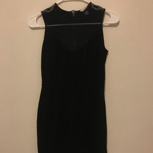 Boston Proper black dress with mesh neck